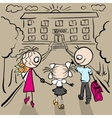 Mom and Dad are my daughter to school vector image
