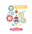 time management retro cartoon concept vector image