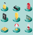 tourism color isometric icons vector image