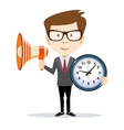 Abstract Businessman with a loudspeaker and wall vector image