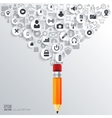 Pencil icon Flat abstract background with web vector image