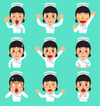 Cartoon female nurse faces showing different vector image