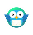 cartoon owl character with a letter vector image