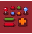 Colorful Buttons and Joysticks Set for Arcade vector image