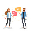 communicate a guy and a girl with bubbles vector image