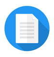 Document flat circle icon with long shadow vector image