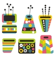 Set of colorful vases vector image