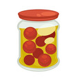 canned cherry tomatoes in big jar isolated vector image