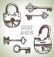 Hand drawn locks and keys set vector image vector image