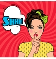 pop art woman asking for silence vector image