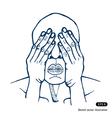 Man covering eyes with hands vector image vector image