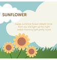cute sun flower on grass field within blue sky and vector image
