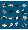 Graphic Design Isometric Icons vector image