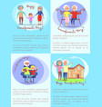 happy grandparents day set of posters with text vector image