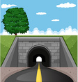 Road going through the tunnel vector image