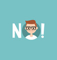 warning sign young nerd says no clip art design vector image