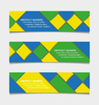 Abstract geometric banners in Brazil flag colors vector image vector image
