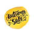 autumn sale badge template with brush lettering vector image