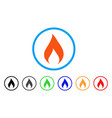 flame rounded icon vector image