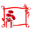 Holiday background with three roses and gift box vector image