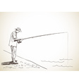 man fishing vector image