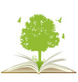 open book with green tree vector image