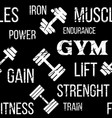 typographic fitness gym seamless pattern or vector image