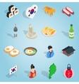 Republic Of Korea set icons isometric 3d ctyle vector image