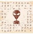 Alien hieroglyphics carved in stone vector image