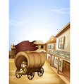 A little girl sitting in the wooden carriage vector image vector image