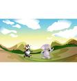 Mountain Panda Elephant vector image