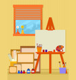 home art studio interior for artist vector image