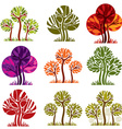 Set of stylized trees with green and purple leaves vector image