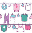 seamless pattern with baby clothes vector image