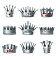cartoon silver royal crowns set vector image