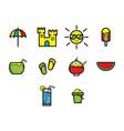 flat color summer season icon set vector image