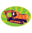 mechanical digger excavator trac vector image vector image