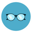 eye glasses icon modern eyeglasses on blue round vector image