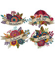four autumn bouquets with ribbons vector image