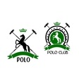 Polo club emblem with horse and sport items vector image