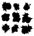set of black ink stains vector image