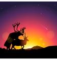 Silhouette of deers copulate vector image