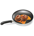 meat in a frying pan vector image