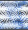 blue striped palm leaves seamless pattern vector image