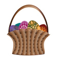 Basket of easter eggs vector image