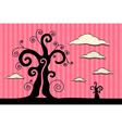 Abstract Black Trees with Clouds on Pink Car vector image vector image