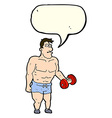 cartoon man lifting weights with speech bubble vector image