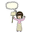 cartoon vicorian woman protesting with speech vector image