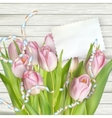 Tulips lying on a white textured table EPS 10 vector image vector image
