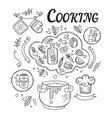dinner cooking set of ingredients and tools for vector image